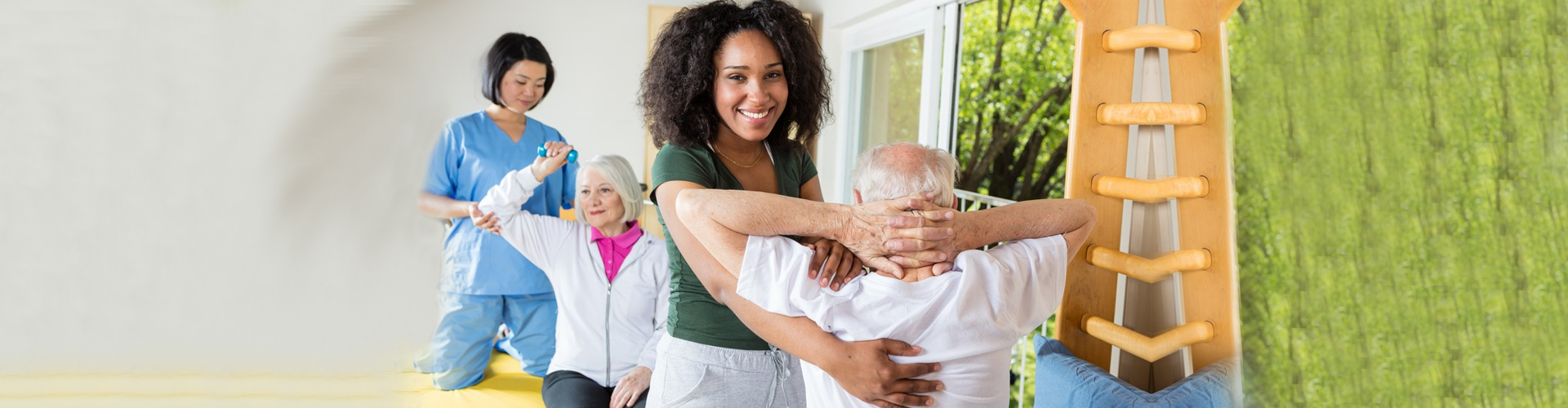 a senior getting a physical therapy